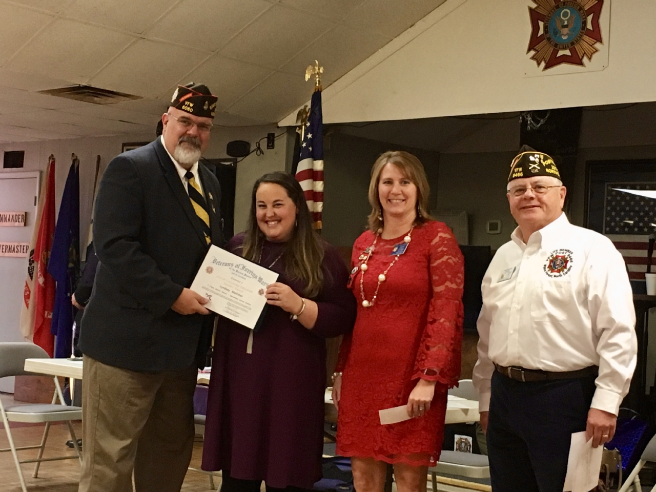 NC VFW Department (State) Commander Greg Stafford, District and Post 8466 Elementary School Teacher of the Year Lyndsey Mokhiber from Heritage Elementary School, District VFW Auxiliary President Tina Szafarski, Post 8466 Commander and District Chairperson for the TOY Program David Martin